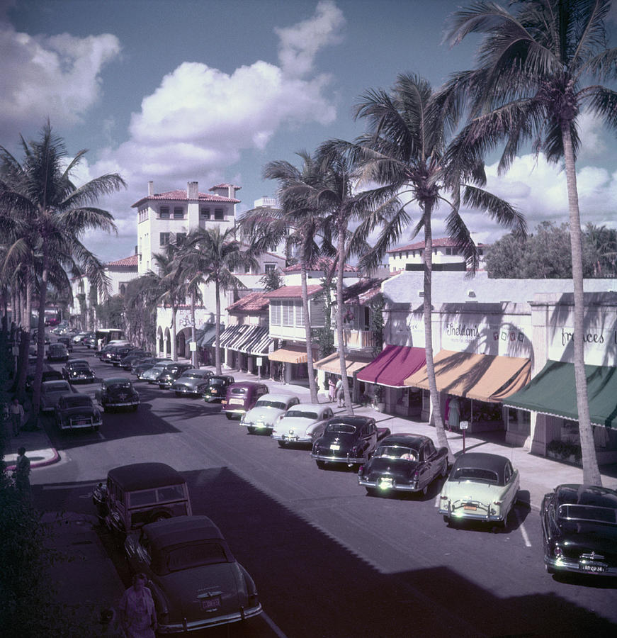 Palm Beach Street Photograph by Slim Aarons
