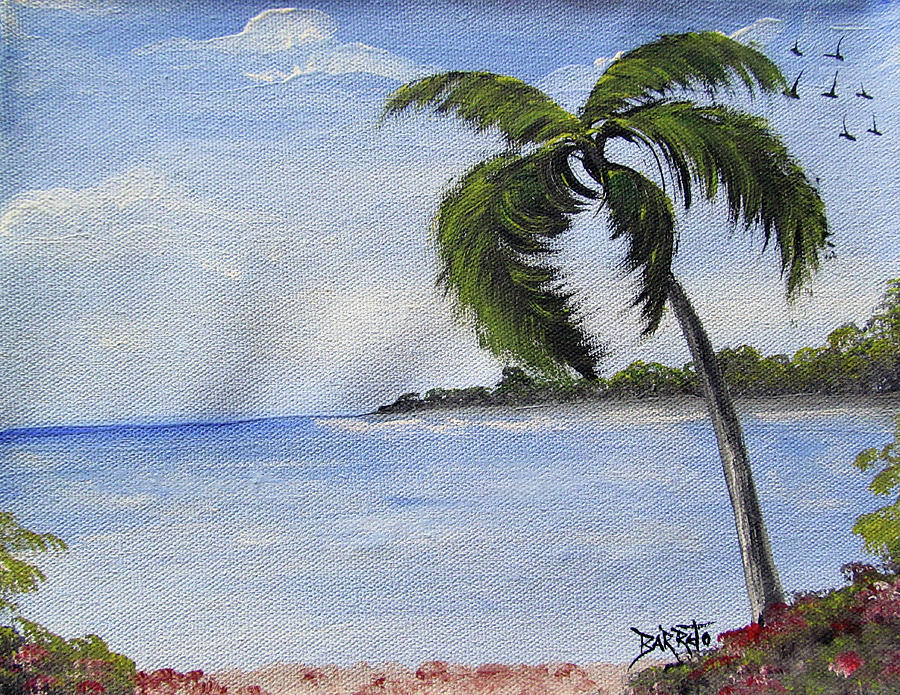 Palm Tree Seascape by Gloria E Barreto-Rodriguez
