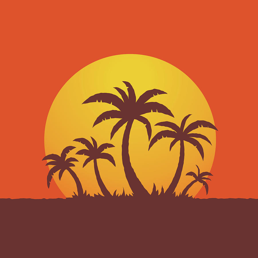 Palm Trees And Sun Digital Art