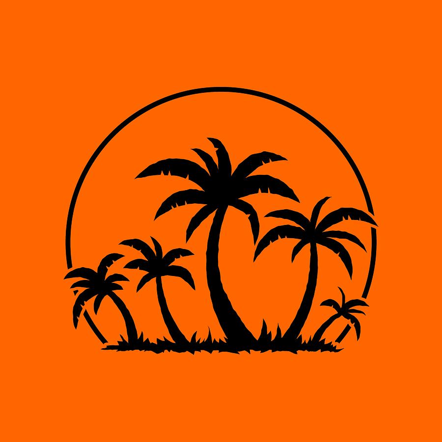 Palm Trees And Sunset In Black Digital Art