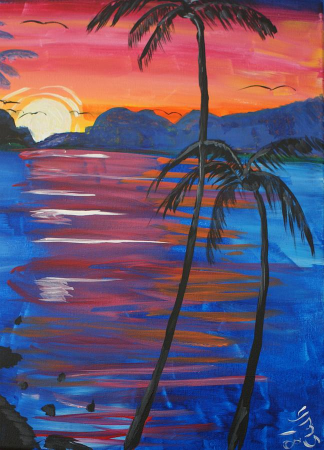 Water Painting - Palm Trees And Water by Yvonne Sewell