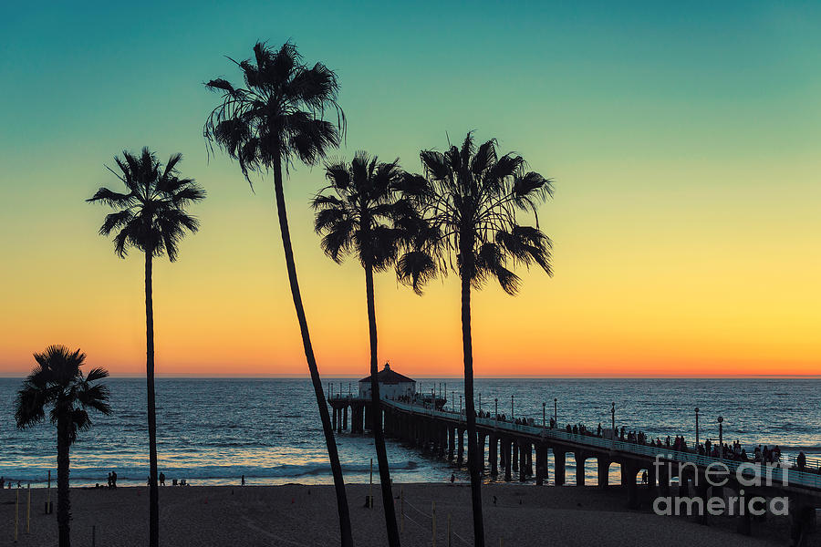 Sunrise Photograph - Palm Trees At Manhattan Beach. Vintage by Lucky-photographer