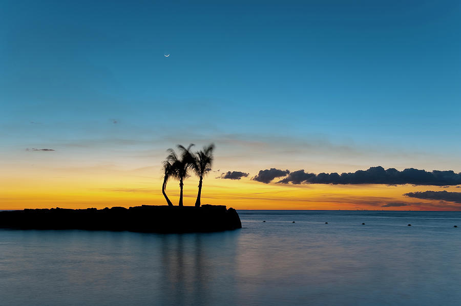 Mauritius Photograph - Palm Trees On Small Island After Sunset by Tarzan9280