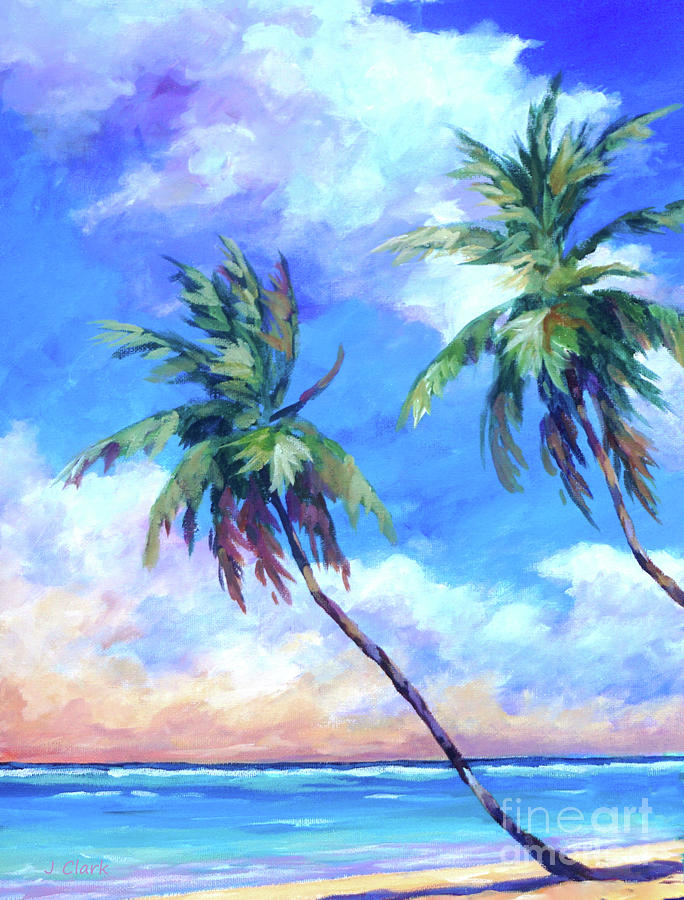Cayman Painting - Palms And Evening Clouds by John Clark