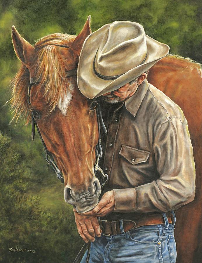 Cowboy Painting - Pals by Kim Lockman