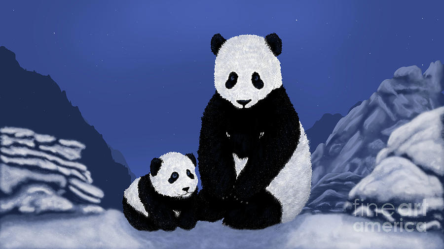 Panda and Cub on Moonlit Snowy Mountains by Ford Family