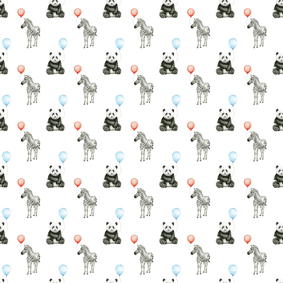 Panda Painting - Panda And Zebra With Balloons Pattern by Olga Shvartsur
