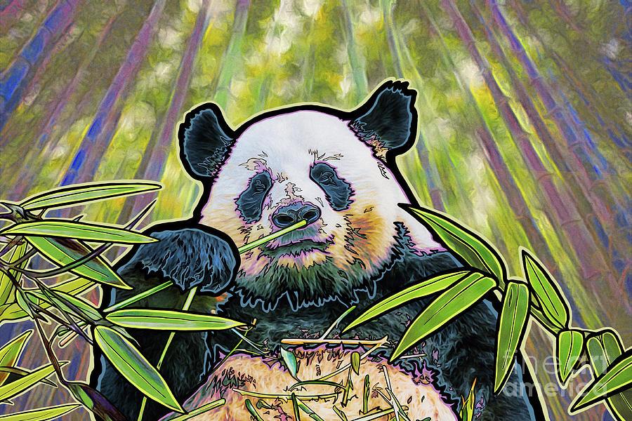Panda Mixed Media - Panda Bambood by Karin Hoffman