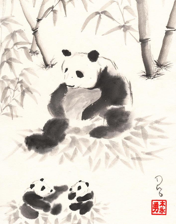 Panda Family by Derek Motonaga