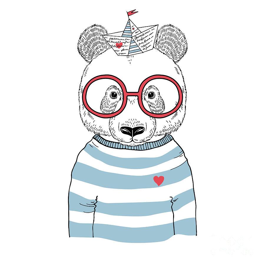 Small Digital Art - Panda Sailor, Nautical Poster, Hand by Olga angelloz