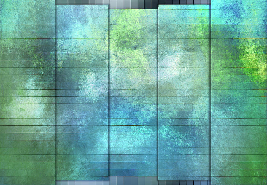 Panels - Coral Turquoise and Teal by Jason Fink