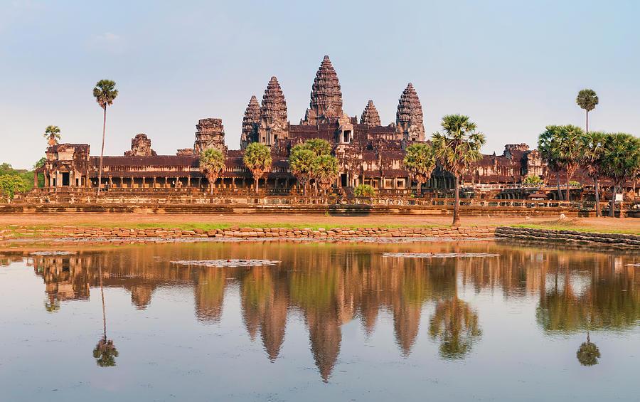 Panorama Of Angkor Wat Cambodia Ruins Photograph by Leezsnow