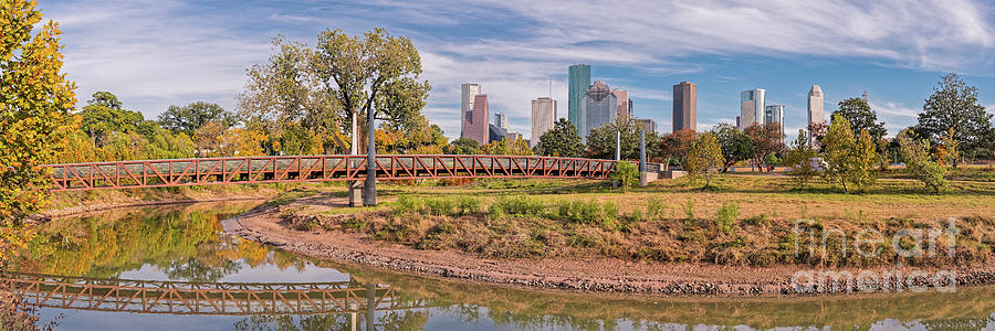 Panorama Of Carruth Pedestrian Bridge - Buffalo Bayou - Downtown Houston Skyline In The Fall - Texas Photograph