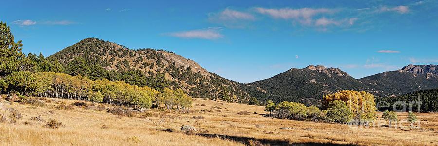 Panorama of Changing Aspens at Moraine Park - Rocky Mountains National Park - Estes Park Colorado by Silvio Ligutti