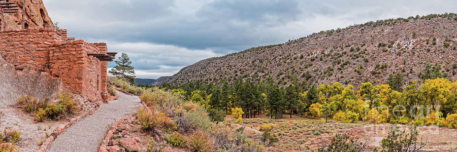 Adolph Photograph - Panorama Of Cliff Dwelling And Fall Cottonwoods In Frijoles Canyon - Bandelier National Monument  by Silvio Ligutti