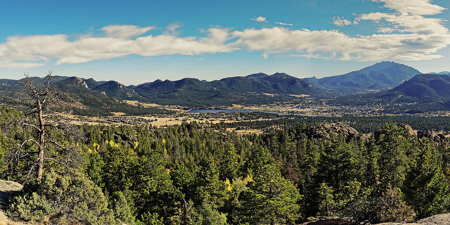 Panorama of Estes Park and Rocky Mountains National Park from Gem Lake - Larimer County Colorado by Silvio Ligutti