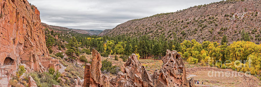 Adolph Photograph - Panorama Of Frijoles Canyon And Changing Cottonwoods - Bandelier National Monument New Mexico by Silvio Ligutti