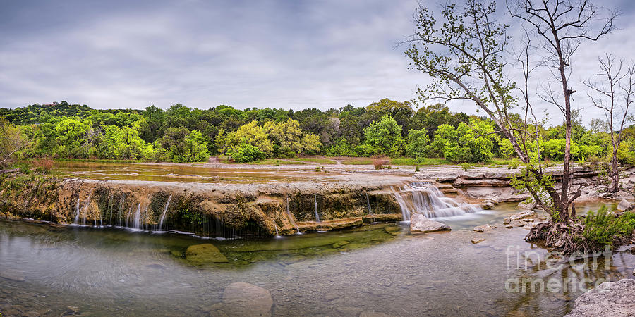 Upper Photograph - Panorama Of Link Falls At Upper Bull Creek District Greenbelt Park - Austin Texas Hill Country by Silvio Ligutti
