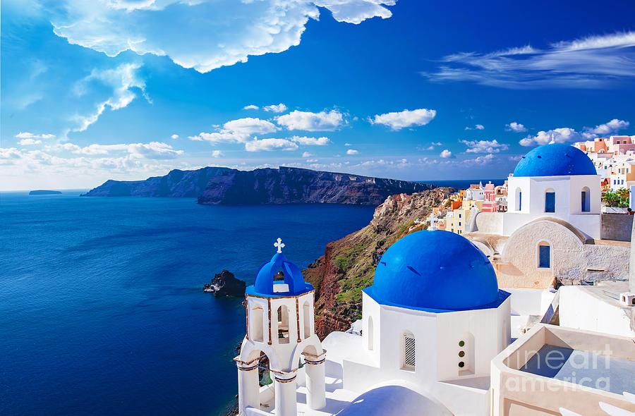 Santorini Photograph - Panorama of Santorini - Greece by Stefano Senise