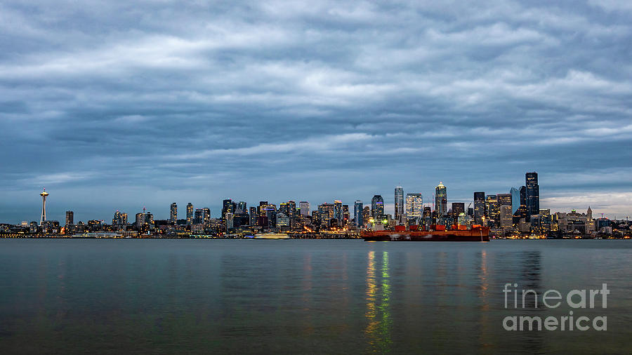 Clouds Photograph - Panorama Of Seattle Skyline At Night With Storm Clouds by PorqueNo Studios