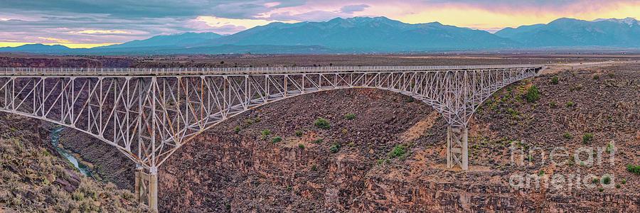 Rio Grande Photograph - Panorama Of The Rio Grande Del Norte Gorge Bridge And Sangre De Cristo Mountains - Taos New Mexico by Silvio Ligutti