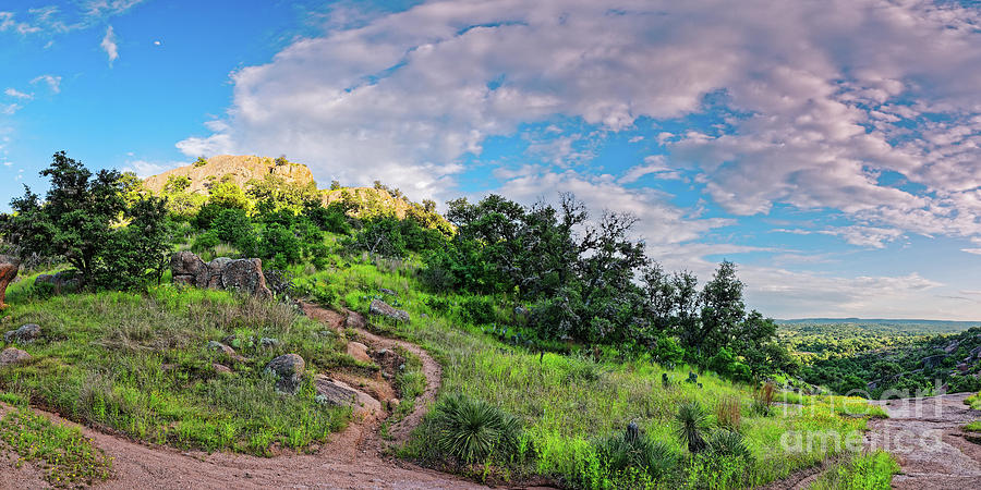 Panorama Of Turkey Peak And Hiking Trails At Enchanted Rock - Gillespie County Texas Hill Country Photograph