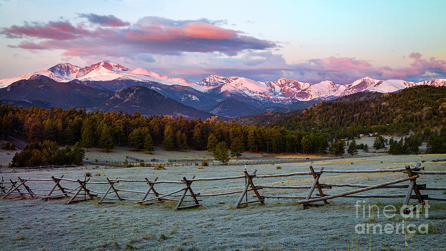 Panorama View of Longs Peak  and Mountain Range from Estes Park  by Ronda Kimbrow