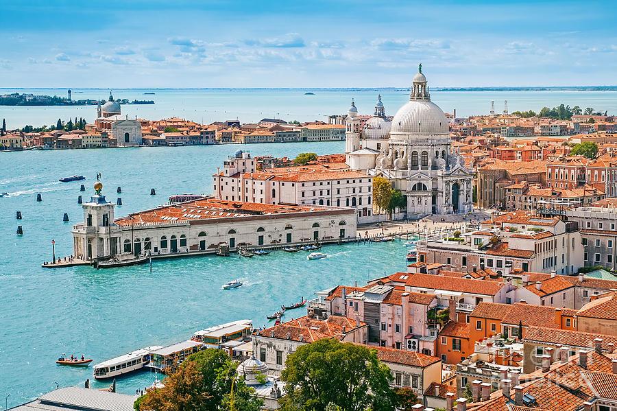 Love Photograph - Panoramic Aerial Cityscape Of Venice by Mariia Golovianko