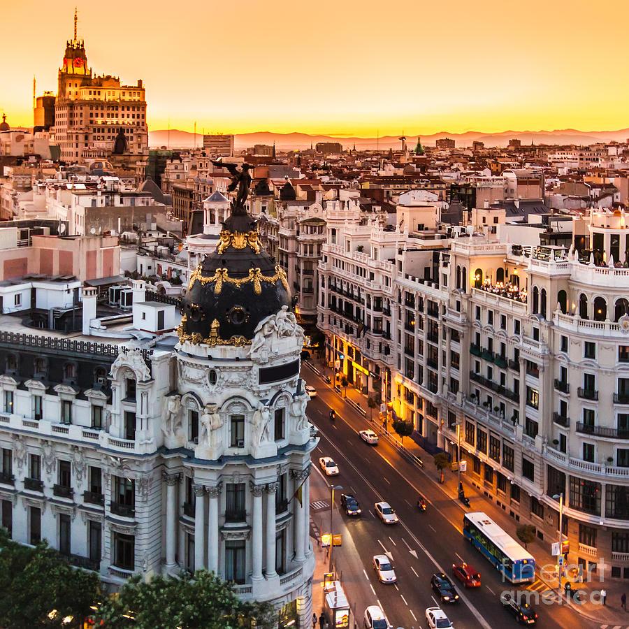 Spain Photograph - Panoramic Aerial View Of Gran Via, Main by Matej Kastelic
