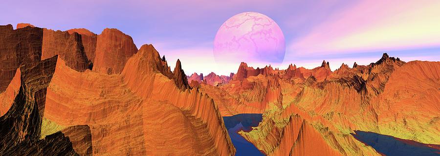 Extreme Terrain Digital Art - Panoramic Landscape Of Red by Raj Kamal