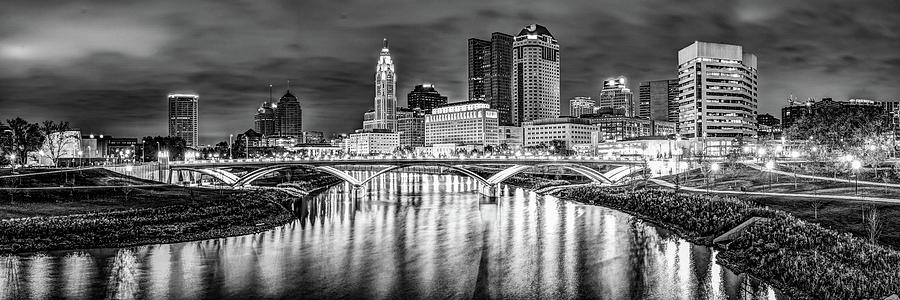 Panoramic Night View Of Columbus Ohio Skyline - Black And White Photograph