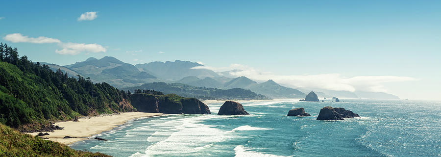 Panoramic Shot Of Cannon Beach, Oregon Photograph by Kativ
