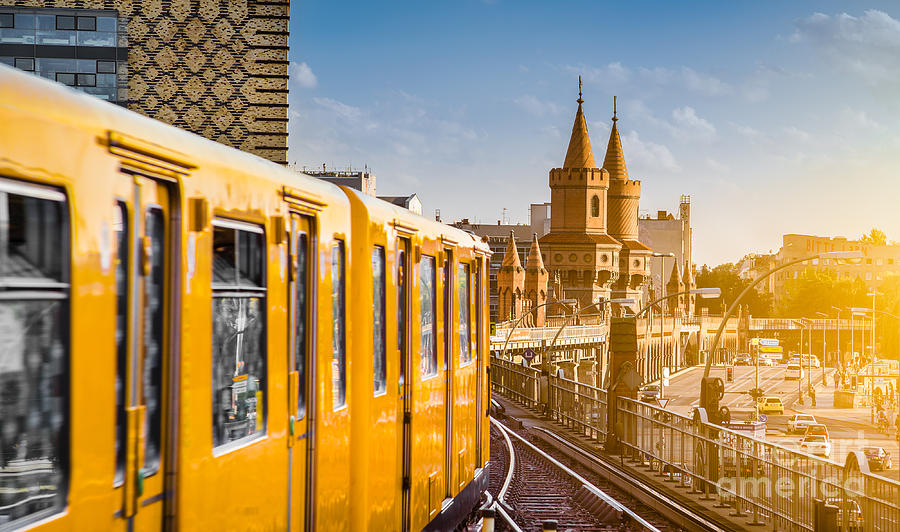 Flare Photograph - Panoramic View Of Berliner U-bahn With by Canadastock