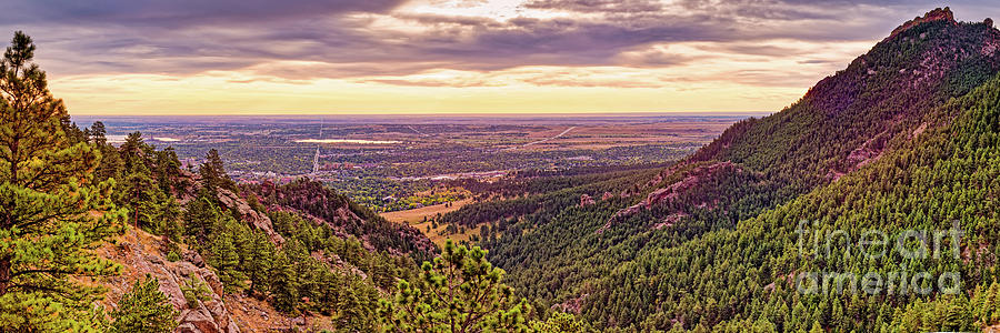 Panoramic View of First Flatiron and Boulder - Front Range Colorado by Silvio Ligutti