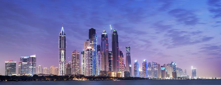 Panoramic View Of Illuminated Dubai Photograph by Deejpilot