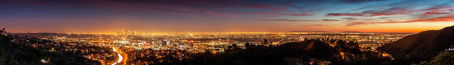 Panoramic View Of Los Angeles At Dusk Photograph by Bob Stefko