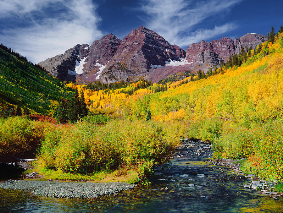 Panoramic View Of The Maroon Bells Peak Photograph by Ron thomas