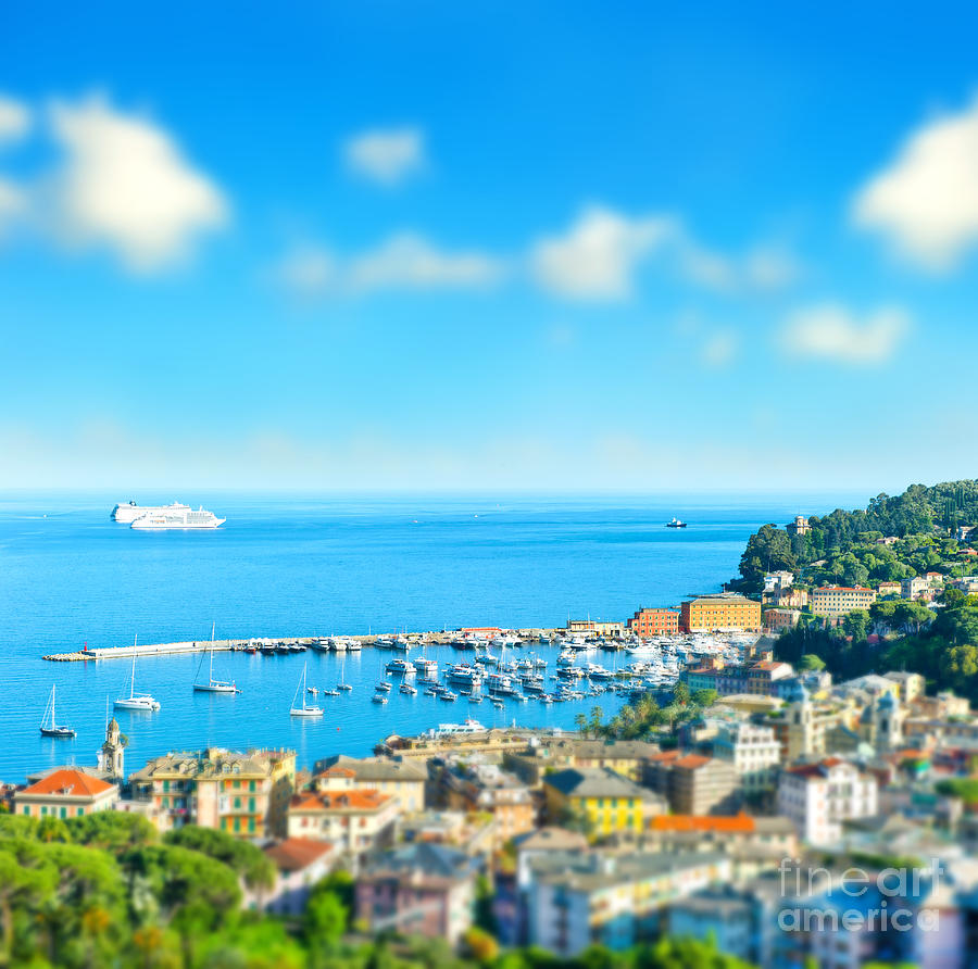 Portofino Photograph - Panoramic View  With Tilt-shift Effect by Liligraphie