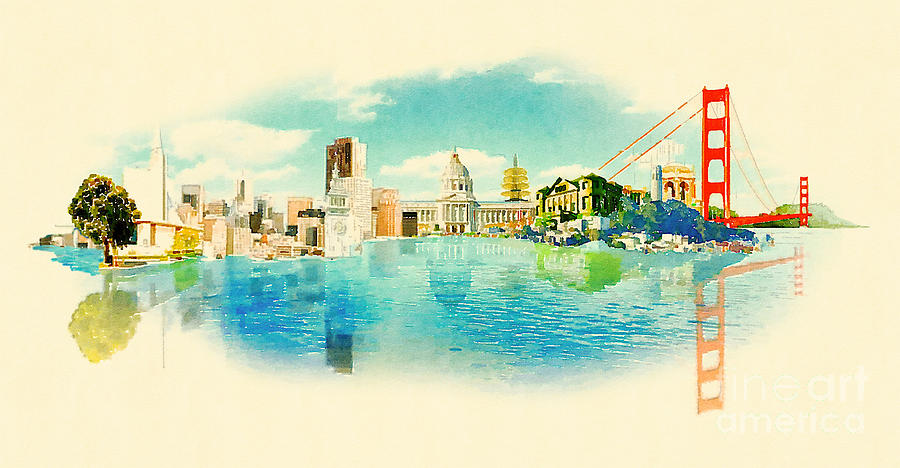 Francisco Digital Art - Panoramic Water Color Illustration San by Trentemoller