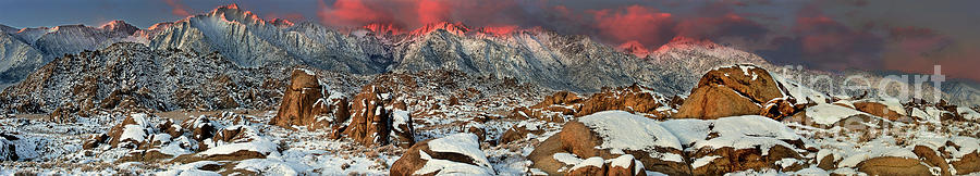 panoramic winter sunrise alabama hills eastern sierras by Dave Welling