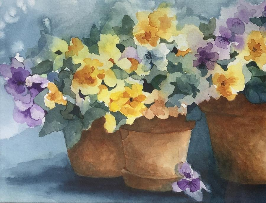 Detail of Pansies #2 by Lael Rutherford