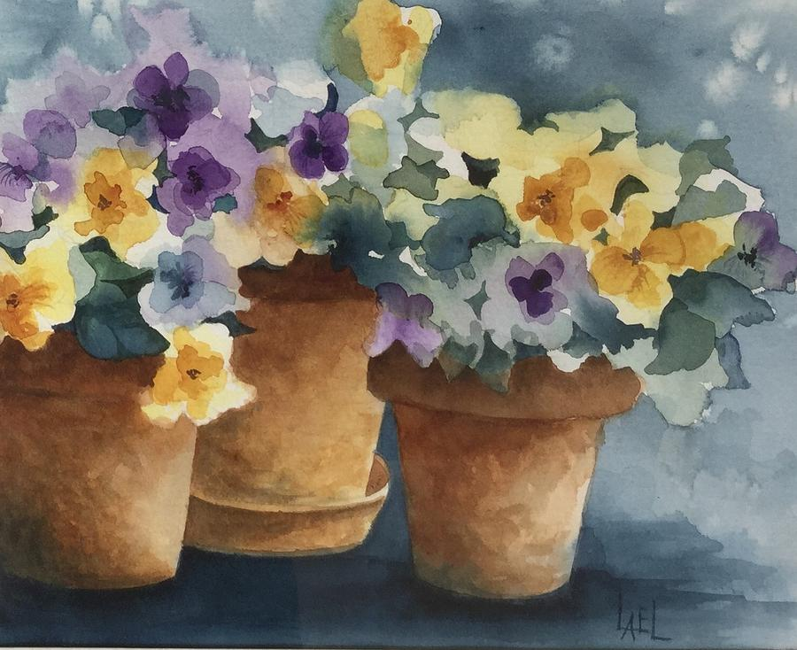 Detail of Pansy Pots by Lael Rutherford