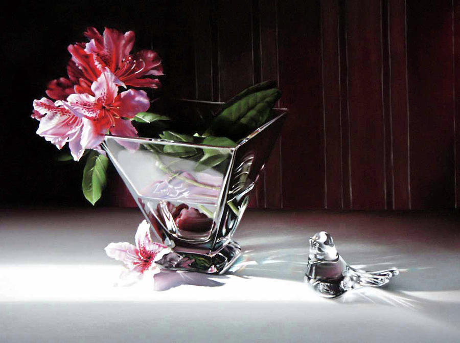 Clear Glass Vase Pastel - Paper And Glass by Dianna Ponting