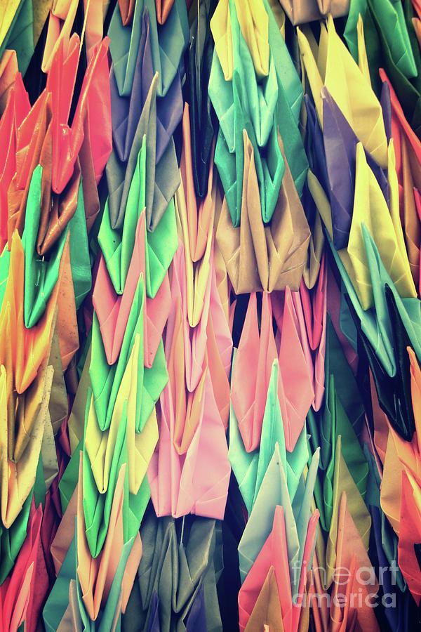 Paper Photograph - Paper Cranes by Delphimages Photo Creations