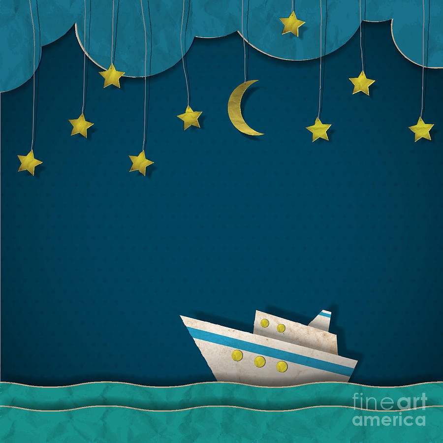 Shadow Digital Art - Paper Cruise Liner At Night. Creative by A-r-t