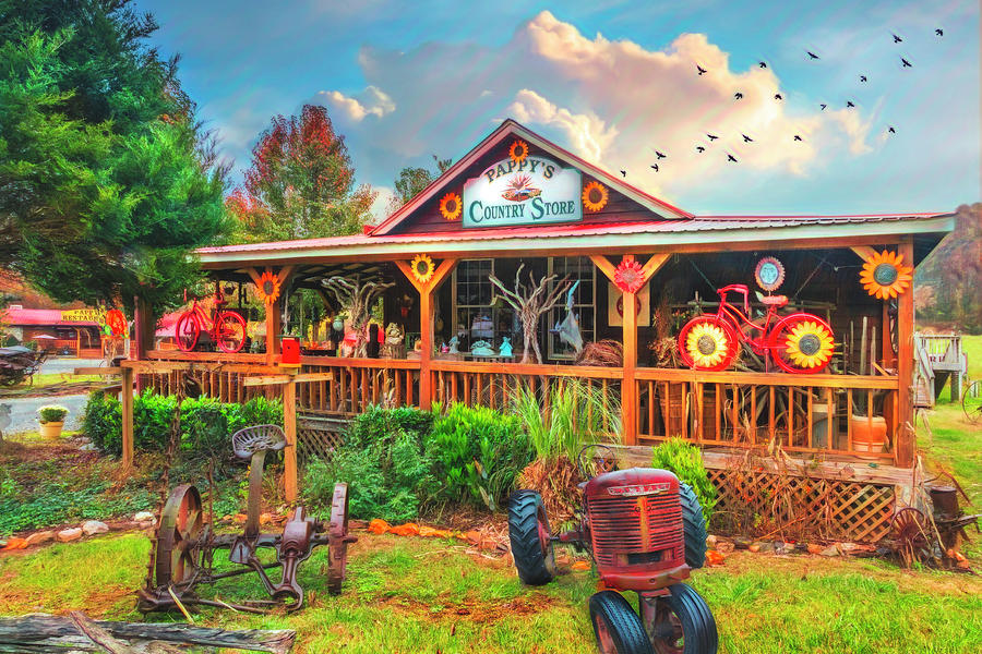 Pappy's Country Store Watercolor Painting  by Debra and Dave Vanderlaan
