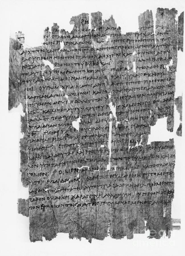 Papyrus Roll With Epistle To The Hebrews Photograph by Bettmann
