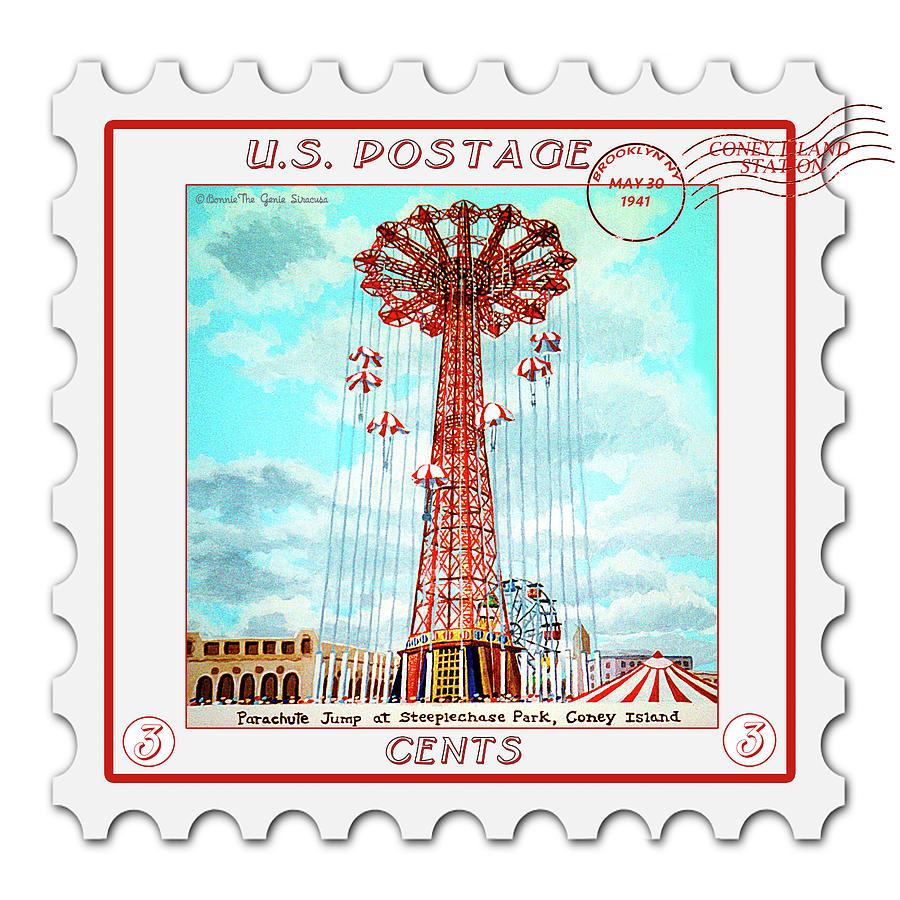 Parachute Jump Pillow Stamp Version 14 X 14 by Bonnie Siracusa