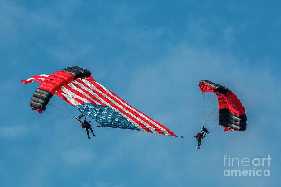 Parachutes and U.S. Flag by Tom Claud