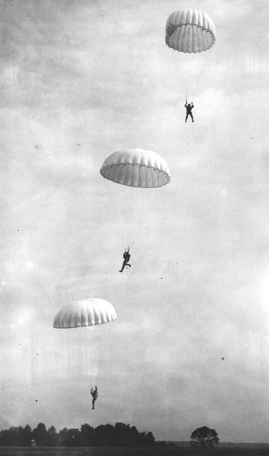 Parachuting Marines Photograph by Keystone